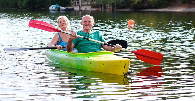 Elderly Couple Kayaking
