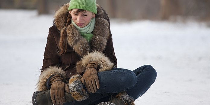 Woman Unable to Walk Safely On Snow Ice Ankle Injury